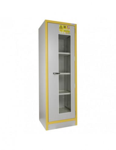 armoire-forte-Armoire Haute 1 Porte Vitrée Équipée -3034pve