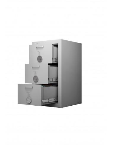 armoires-casiers-de-rangement-Armoire Forte À 3 Tiroirs Class Protect 3t Serrure Individuelle Pour Chaque Tiroir Avec Clés Identiques