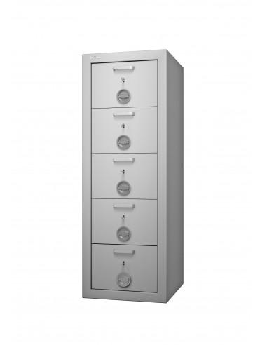 armoires-casiers-de-rangement-Armoire Forte À 5 Tiroirs Class Protect 5t Serrure Différente Pour Chaque Tiroir Avec Passe Général
